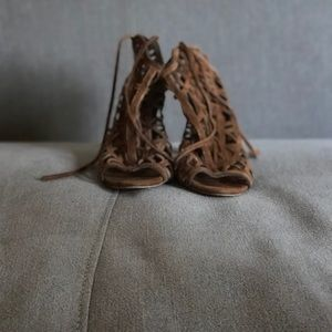 Brown faux suede lace up shoe